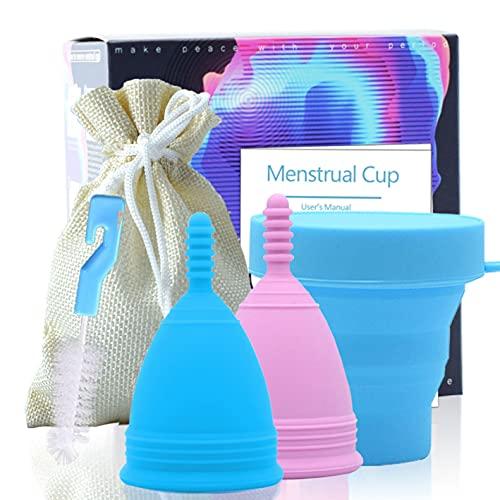 Coppetta mestruale riutilizzabile in silicone 100% grado medico, morbida e flessibile, con sterilizzatore pieghevole, borsa e spazzola per disinfezione, include 2 coppette mestruali taglia S e L AR