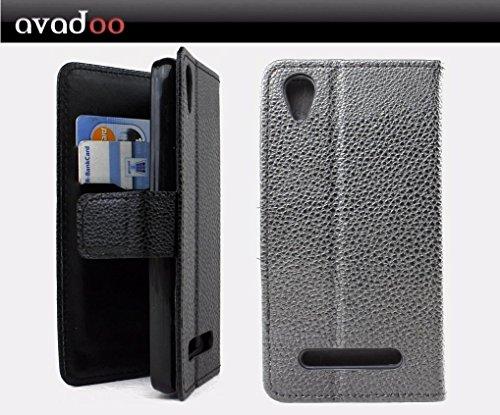avadoo® Medion Life E4504 Flip Hülle Cover Tasche Schwarz mit Magnetverschluss & Dualnaht als Cover Tasche Hülle