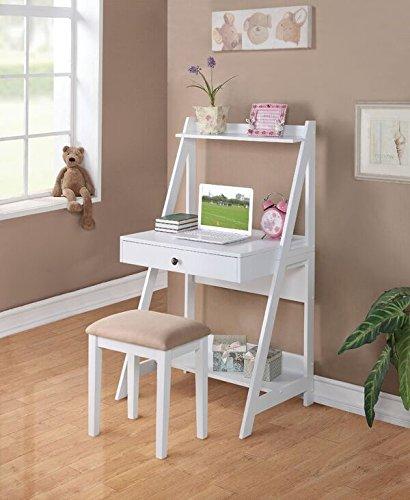 Poundex Writing Desk and Stool w/White Color Finish Pine Wood