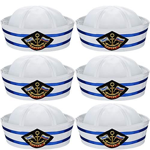 6 Pezzi Halloween Bianco e Blu Cappello da Marinaio Capitani Cappelli Yacht Cappelli Nautici per Costume da Marinaio Adulto, Vestire Cappelli da Festa
