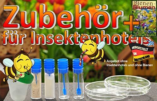 ÖLBAUM Bienentränke+Futterset MIT Bienennahrung, Bienenblumen-Samen für Insektenhotels + Tränken und Futterschalen, Futterkonzentrate, Menüplan + Anleitung + witzige Hotelzeitung