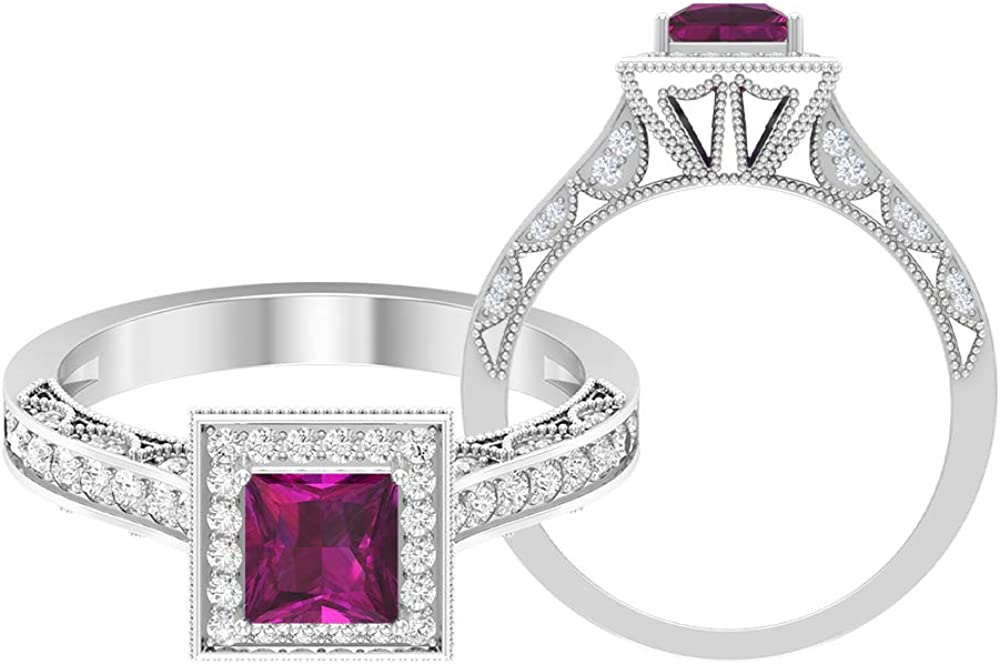 1 2 CT Limited time for free shipping Rhodolite and Diamond Ston Side Max 63% OFF Solitaire Ring with