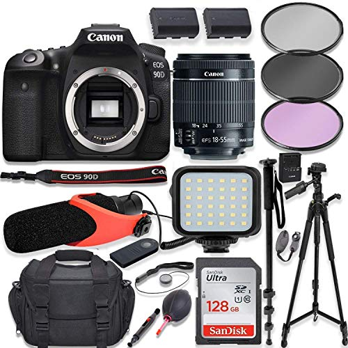 "Canon EOS 90D DSLR Camera w/Canon 18-55mm STM Lens Kit + Pro Photo & Video Accessories Including 128GB Memory, LED Light, Condenser Micorphone, 60"" Tripod & More"