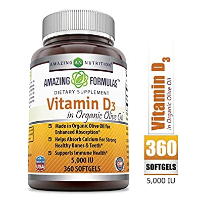 Amazing Formulas?Vitamin D3 with Organic Olive oil -?5000?IU, 360?Softgels - Most Important Vitamin?for?Optimal Body Function * Supports Bone Health, Cardiovascular Health, Kidney Function and Over-al