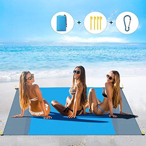 laxikoo Stranddecke, Wasserdichte Picknickdecke 210 x 200 cm Outdoor Sandabweisende Strandmatte 4 Befestigung Ecken Ultraleicht Tragbar Campingdecke Ideal für Reisen, Camping und Picknick (Blau)