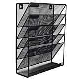 EasyPAG Mesh Wall File Holder 5 Tier Vertical Mount / Hanging Organizer with Bottom Flat T...