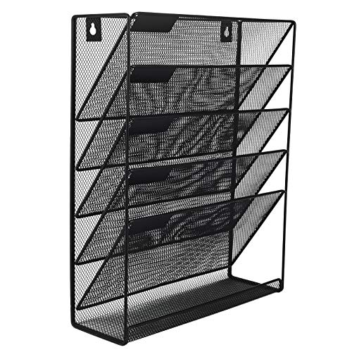 Magazines and More Organize The Desktop Sturdy and Wide for Letters Files Nozzco Wall Mount Hanging File Holder Organizer Durable Steel Rack Solid Declutter Your Office 6 Pack Pink
