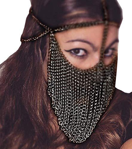 HJG Máscara de Disfraces para Mujeres, Diadema de Metal, borlas, máscara de Cadena para Danza del Vientre, máscara de Velo Sexy para Discoteca,Black