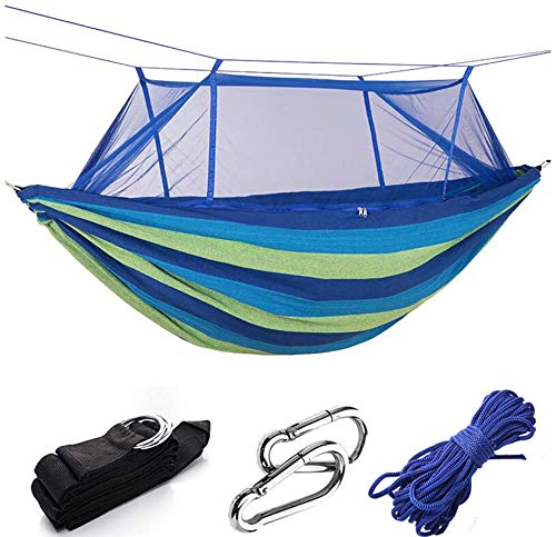 LBYLYH Ultralight Hängematte,Siesta Hängematte,Camping Hängematte, Doppelt Dicke Leinwand Hängematte, Outdoor-Camping Wilde Mücke, Sonnenschirm,Blue