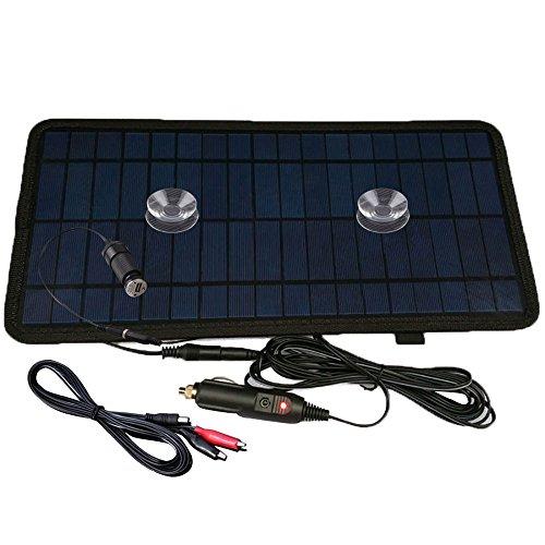 nuzamas 8,5W 12V Power Solar Panel Akku Ladegerät für Car SUV Truck boot Marine Caravan kommt mit USB-, Alligator Clips und Zigarette Adapter