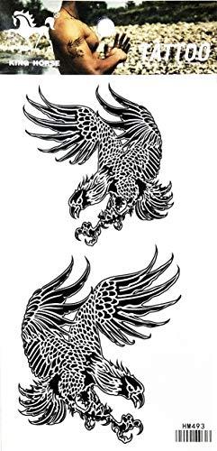 PARITA Tattoos Bald Eagle Hawk Falcon Bird Wings Cartoon Art Fantasy Temporary Tattoo Fake Body Chest Shoulder Arm Leg Stickers Tattoos Fun Party Waterproof for Man Women (1 Sheet.) (07)