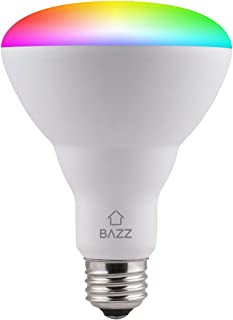BAZZ BR30RGBTNWWF Smart Wi-Fi LED RGB BR30 10W Bulb, Dimmable, Energy Star, Color Change, Outdoor, Alexa and Google Home Compatible, Matte White