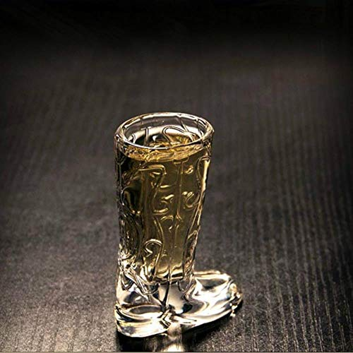 SNV Glass Bar Restaurant Decorative Wine Glass Small Capacity Originality Transparent Boots Shot Glass 6pcs Vodka Brandy Cocktail,20ml
