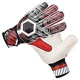 SANON Guantes de Portero de Fútbol con Protección de Dedos de Látex de Nailon PU para Niños Adultos (Rojo 10)