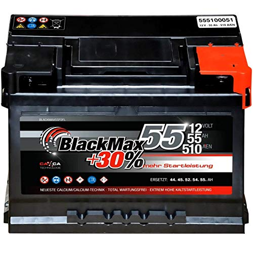 Autobatterie 12V 55Ah 510A Starterbatterie ersetzt 45Ah 50Ah 52Ah 54Ah 56Ah