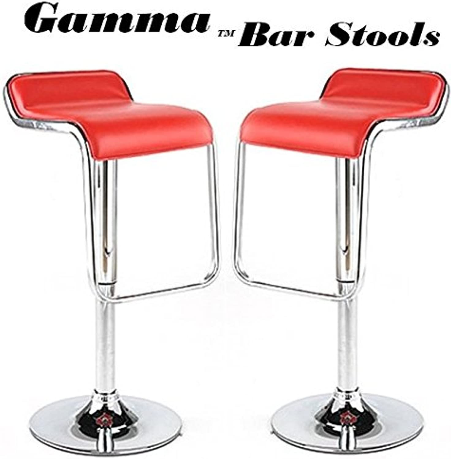 Gamma Adjustable Synthetic Leather Bar Stools - Bright Red (Set of 2)