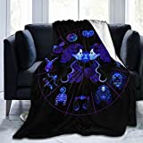 YEAHSPACE Cozy Multicolor Decorative Print Blankets and Throws for Couch-50x60 inch-Twelve Constellation Same Sex Pride Gemini Seat Blue Purple
