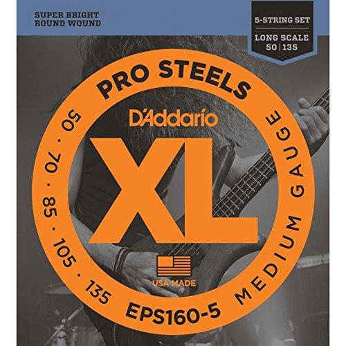 Juego de cuerdas para bajo 5 cuerdas D'Addario EPS160-5 ProSteels 5-String Bass Medium Long Scale 50-135 (050, 070, 085, 105, 135)