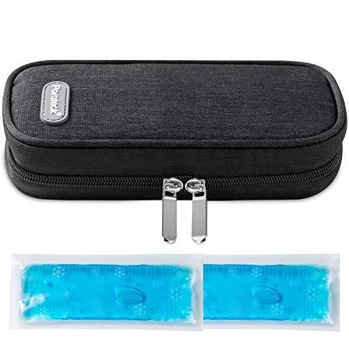 Pochette Insuline isotherme Sac Diabetique Stylos à Insuline Voyage Avion à 2 Packs de Glace (Noir)