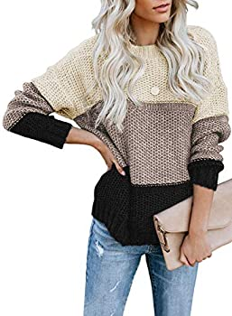 Lovezesent Womens Plus Size Long Sleeve Colorblock Ribbed Knitted Oversized Chunky Pullover Sweaters Jumper Tops Black XL