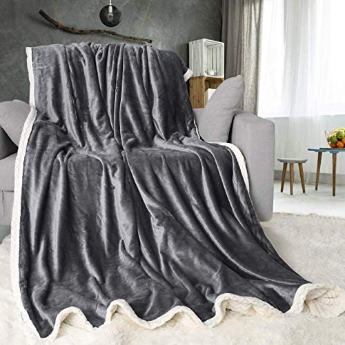 ONME Double Layer Fleece Blanket Twin Size Gray 460GSM Upgrade Super Soft Flannel Microfiber product image