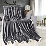 ONME Double Layer Fleece Blanket Twin Size Gray, 460GSM Upgrade Super Soft Flannel Microfiber Blankets for Sofa, Bed - Exquisite Bedding, Warm, Cozy