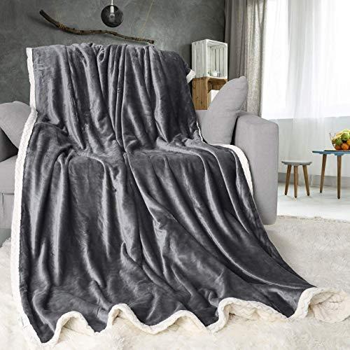 ONME Double Layer Fleece Blanket Twin Size Gray
