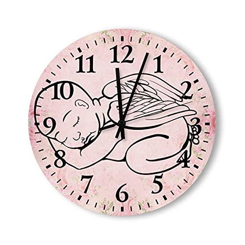 Reloj Reloj de Pared Redondo Reloj Colgante, para Sala de Estar, Cocina, Dormitorio y Patio, bebé durmiendo con alas de ángel Reloj de Pared Negro