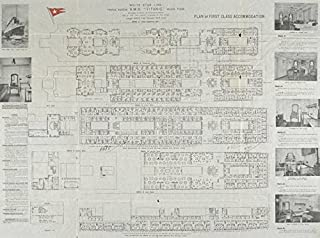 Wall Art Print Entitled RMS Titanic.Deck Plan of First Class Accommodation by Celestial Images | 15 x 11