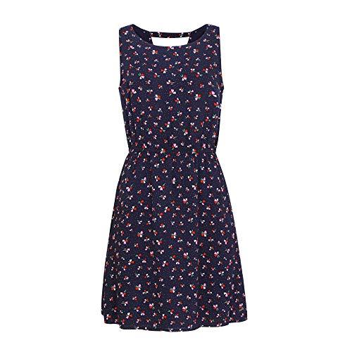 TOM TAILOR Denim Damen Blumenmuster Kleid, Marine Blumen Design, XL