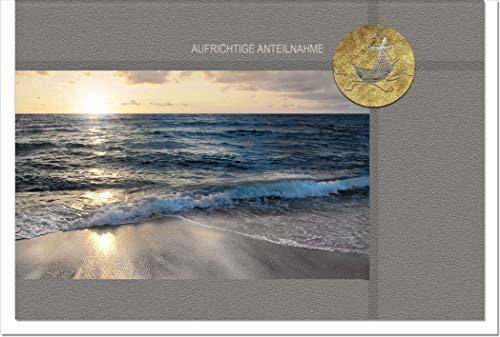 Trauerkarte HOFFNUNG | Meeresstrand | metALUm #00058