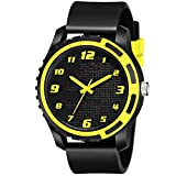Acnos Black and Yellow Dial Black Rubber Belt Analogue MT Watch for Men's and Boy's Pack of - 1 (MT-112)