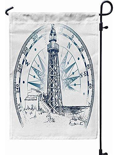 BI HomeDecor Flag Banner,Leuchtturm Meer Landschaft Antike Detailzeichnung In Gravieren Stil Isoliert Weiß Atrractive Im Freien Garten-Flags 70x102cm