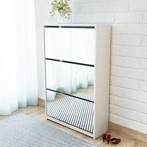 Festnight Schuhkipper Schuhschrank mit 3 Fächern Spiegelschrank Schuhregal Flurschrank 63 x 17 x 102,5 cm Weiß