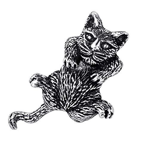 MATERIA Damen Kettenanhänger Katze Silber 925 - Schmuck Anhänger Tier beweglicher Schwanz antik in Etui KA-28_ohne Kette