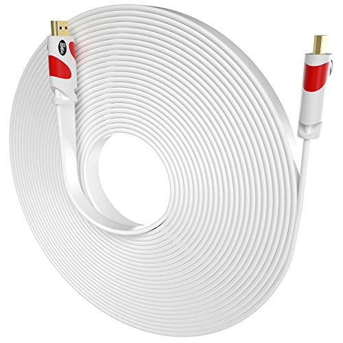 Flat HDMI Cable Postta 40 Feet Flat HDMI 2.0 Cord Support 4K, Ultra HD, 3D, 2160p, 1080p, Ethernet and Audio Return-White-Red