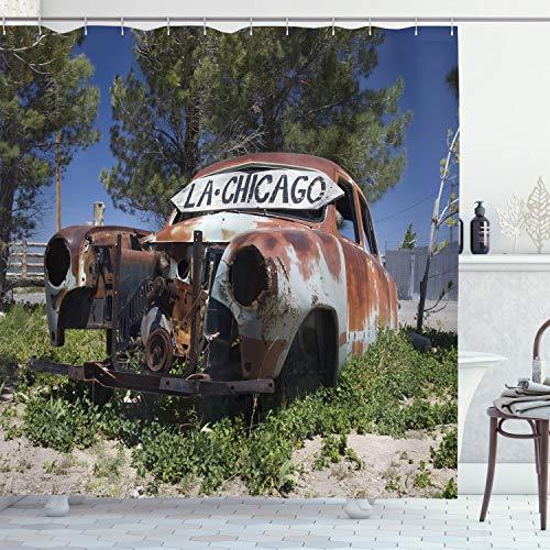 ABAKUHAUS Oldtimer Duschvorhang, Alte verlassene Auto USA, Klare Farben aus Stoff inkl.12 Haken Farbfest Schimmel & Wasser Resistent, 175 x 200 cm, Braun Grün Blau