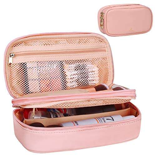 Relavel Makeup Bag Small Travel Cosmetic Bag for Women Girls Makeup Brushes Bag Portable 2 Layer Cosmetic Case Brush Organizer Christmas Gift (Pink)