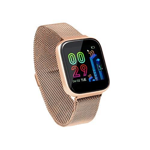 Sami - FIT Plus TACTIL - Smartwatch, Smartband, Pulsera de Actividad Deportiva. Color Rosa Oro. para Android y iOS Función: GPS, presión sanguínea, Fuerza G, Multideportivo. Correa Magnética.