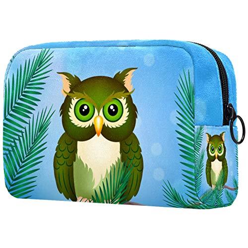 Trousse de Maquillage PVC Dessin animé hibou vert Sac à Maquillage Organisateur des Cosmétiques de Voyage Trousses de Toilette Grande Capacité 18.5x7.5x13cm
