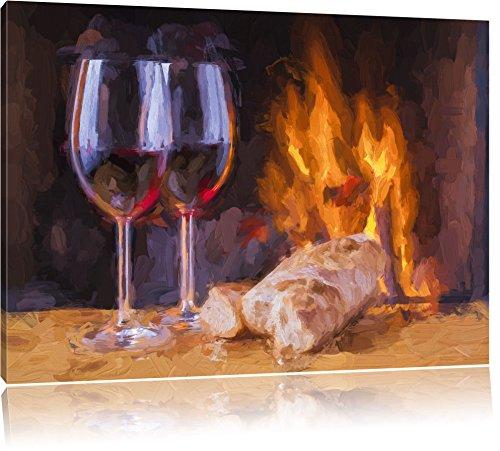 Pixxprint Wein und Baguette am Kamin als Leinwandbild/Größe: 120x80 cm/Wandbild/Kunstdruck/fertig bespannt