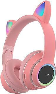 $20 » Voupuoda L450 Over Ear Music Headset Glowing Cat Ear Headphones 7 Color Breathing Lights Foldable Wireless BT5.0 Earphone ...