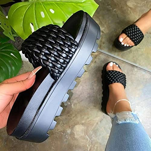 Chanclas Mujer,Repelente al Agua, Impermeable, Pendiente con Zapatos-Negro_42,Sandalias de Ducha de Verano