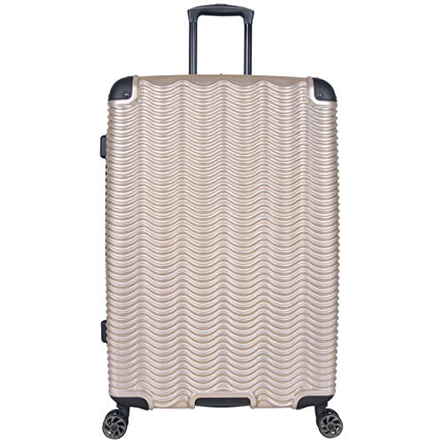 Kenneth Cole Reaction Wave Rush 28' Lightweight Hardside 8-Wheel Spinner Expandable Checked Suitcase, Champagne, Inch