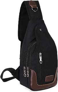 Men's Cool Washed Canvas Casual Crossbody Unbalance Sling Bag Shoulder Chest Bag Black