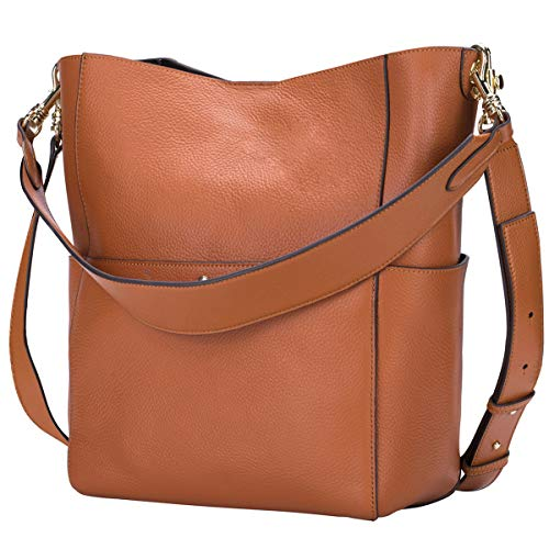 Genuine Leather Bucket Tote Bag for Women Purses and Handbags Hobo Cross Body Bags with Adjustable Strap Brown