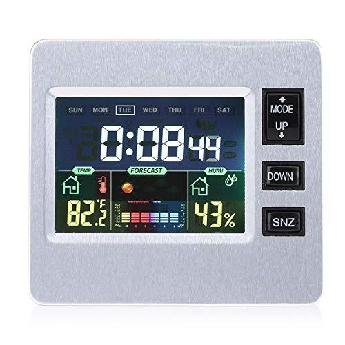 SunshineFace Wettervorhersage Uhr Sprachgesteuerter Wecker Wettervorhersage Temperatur Luftfeuchtigkeitsanzeige Digitaluhr