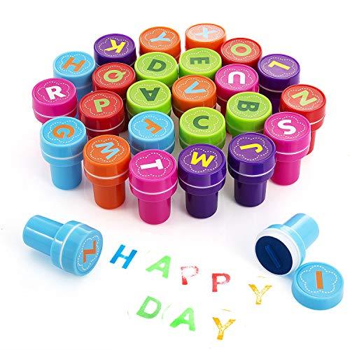 Diealles 26pcs Sellos de Entintado del Alfabeto para Favor de Fiesta Infantil, Premios Escolares, Regalo de Cumpleaños, Aprendizaje de Aprendizaje