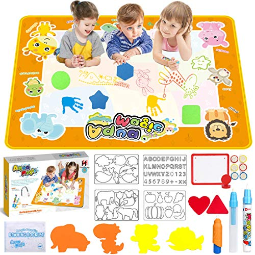 Water Drawing Mat 40x40 inch Aqua Magic Doodle Mat with 26 Accessories Girls Age of 2 3 4 5 6 7 8 40X40 inch Large Water Doodle Mat with Storage Bag Educational Toys and Idea Gifts for Boys