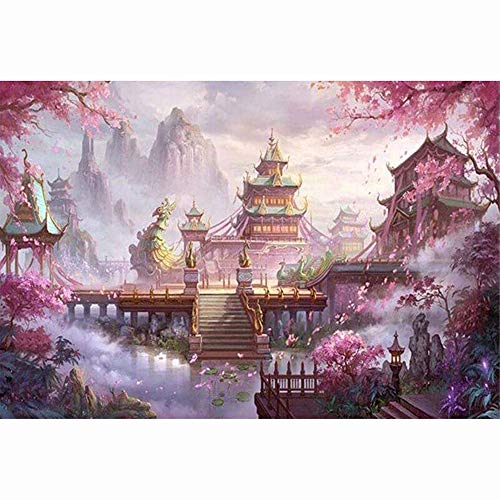 Mikilon 5D DIY Diamond Painting Full Drill for Adults Resin Square Rhinestones Patsed Unfinished Cross Stitch Home Decor Best Gift, 12x16 Inches (Cherry Blossoms Temple)